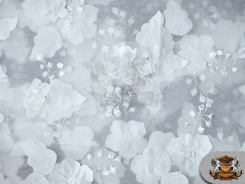 Organza floral applique fabric white wide sold by etsy