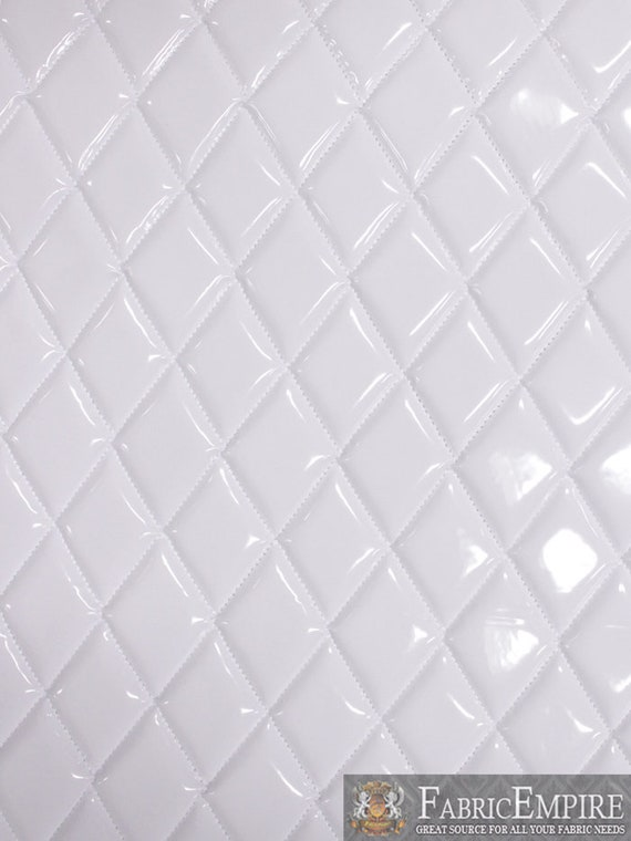 Vinyl Patent Quilted Foam Glossy White Fabric 2 X Etsy