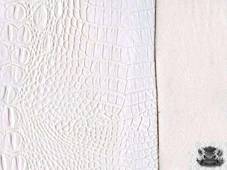 Vinyl Crocodile Allie WHITE Fake Leather Upholstery Fabric  54Wide  Sold By the Yard