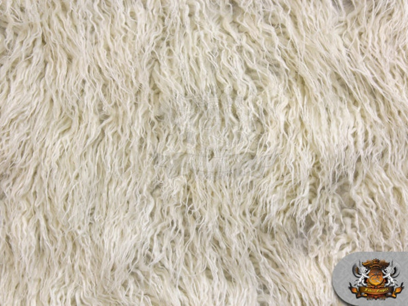 """Faux Fur Long Pile MONGOLIAN SHEEP OLIVE Fabric Sold By the yard 64/""""W"""