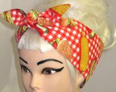 Rockabilly Head scarf Headband Red White GINGHAM RETRO Picnic BBQ food chef Pinup Vintage Retro Style 50s Head Wrap Tie