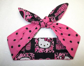 2775ab8a9 BABY Child Adult Hello Kitty Pink polka dot Headband Head scarf Wrap Bandana  white polka dots reversible