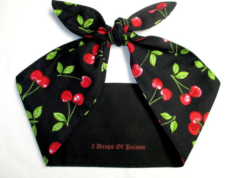 Rockabilly Head scarf Headband hair wrap CHERRIES Cherry BLACK image 0