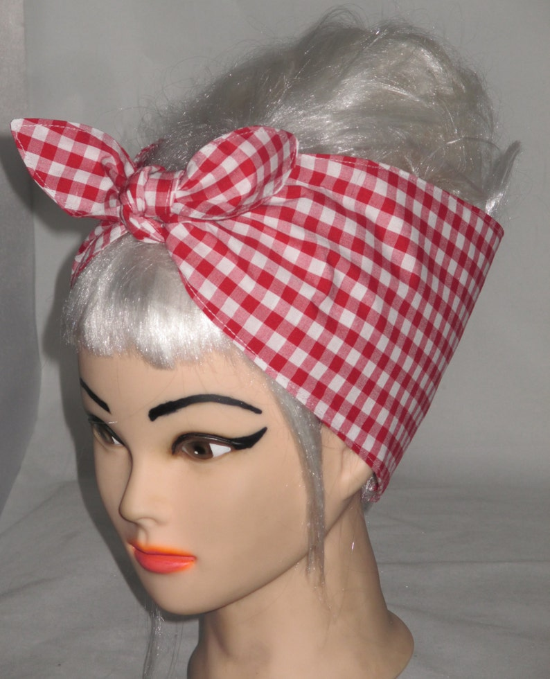 self tie headwrap Green White Check Head Wrap Fabric hair tie Red