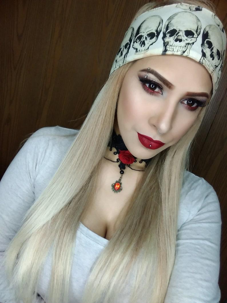 Scarf Extra Large Pink Cotton Black Skull Crossbones Skulls Happy Goth Halloween