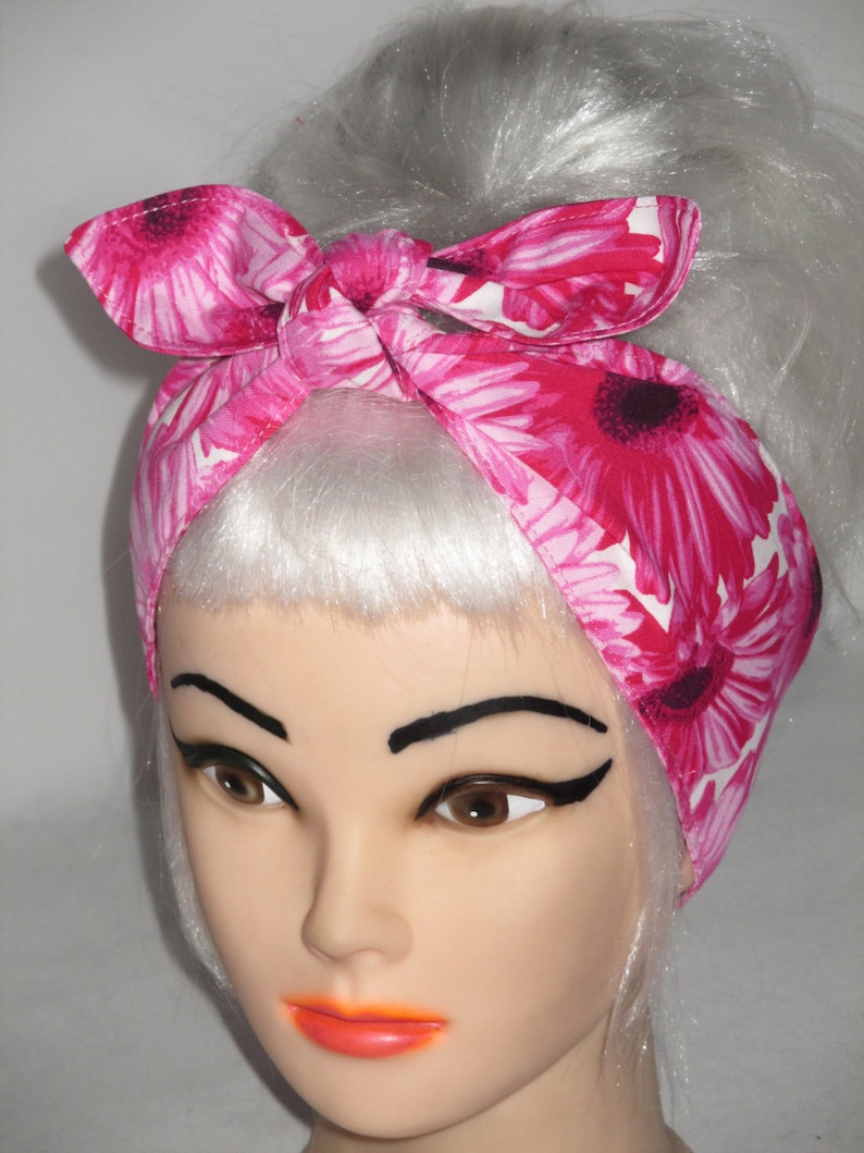 PINK POLKA DOT HEAD SCARF HAIR BAND SPOT GINGHAM BOW ROCKABILLY LAND GIRL PINUP