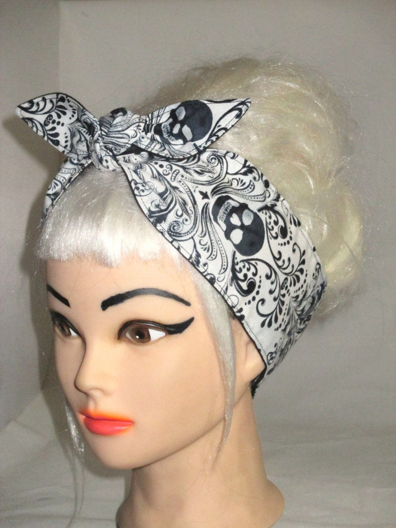BLACK SKULL VINTAGE 50/'S STYLE ROCKABILLY HEAD SCARF WRAP GOTHIC HALLOWEEN DRESS