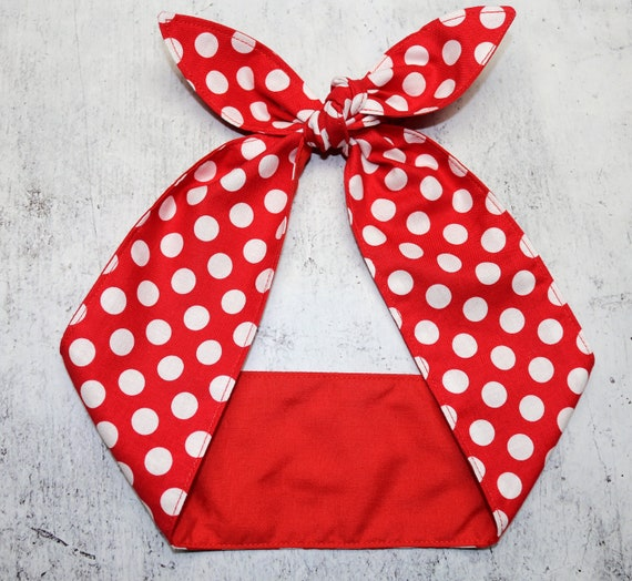 Red and white polka dot hair scarf rockabilly 50/'s headband fifties hair scarf