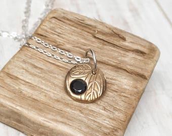 Garnet necklace - January birthstone gift - Garnet jewelry - handmade brass pendant