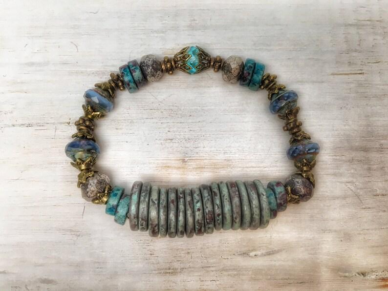 teal blue boho jewelry Boho bracelet bohemian bracelet