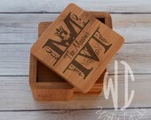 Personalized Coasters, Custom Coasters, Engraved Coasters, Bamboo Square set of 6 wood coasters, Initial with Family Name