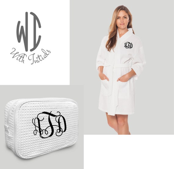 Set of white monogrammed Waffle Robe and large cosmetic bag  62f8e79a2