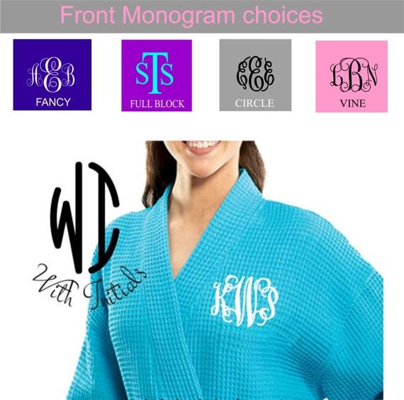 b9162172fa Front monogrammed waffle robe personalized kimono waffle