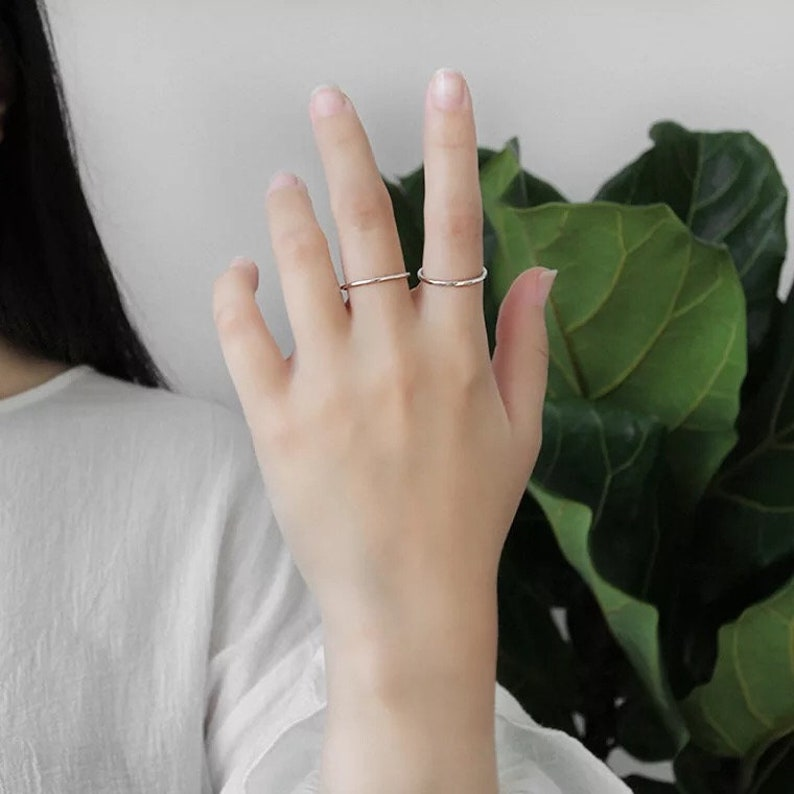 s Thin Sterling Silver Stackable Ring opening RING,Silver Stacking RIngs Silver RIng Dainty Simple Silver Ring Hammered Silver Rings Band