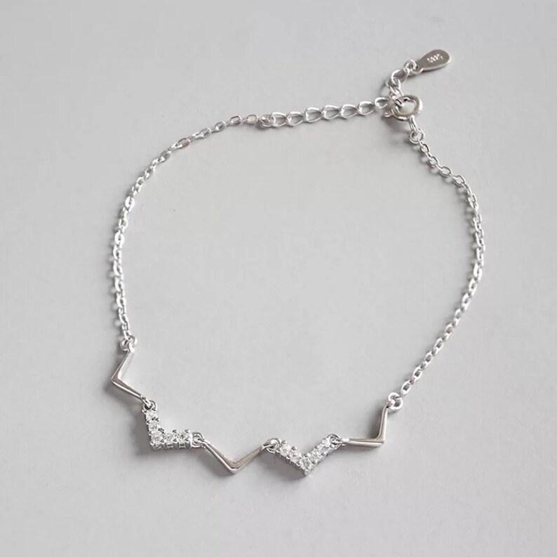 24657544c8988 Dainty Chain Bracelets, 925 Sterling Silver Adjustable Charm Bracelet for  Women Girls,Diamond-Cut White Gold Colours