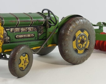 Vintage 1950's Mettoy Tin Litho Farm Tractor with Harrow