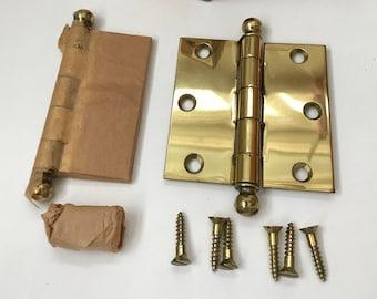 2 Pair lg cast brass hinges