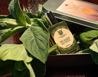 150 days to summer  - Natural perfume, Fresh and citrus with bergamot, sage, blackcurrant bud, nutmeg, lavender, cedarwood, oakmoss, Flacon.