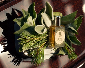 Wind from mountain Kailash -Natural  perfume, fresh and balsamic, with white sage, juniper berry, elemi, lavender, cedarwood  Flacon.