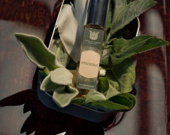 Verdigris - Natural eau de perfume, fresh fragrance with bergamot rosmary, sage, lavender, tonka bean, vetiver, angelica,  Flacon.