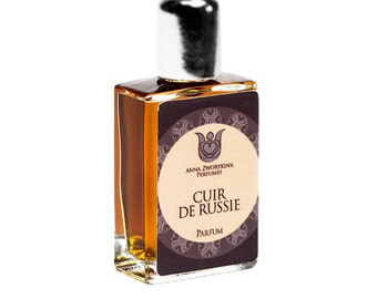 Cuir de Russie (Russian leather) -Natural perfume, leather and floral fragrance with bergamot,galbanum, tar, jasmine, tobacco,Flacon.