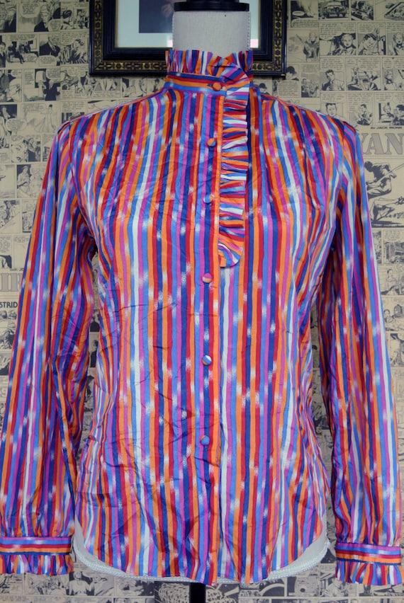 Vintage 1970s Rainbow Stripe Blouse Womens Medium - image 3