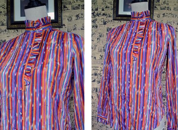 Vintage 1970s Rainbow Stripe Blouse Womens Medium - image 1