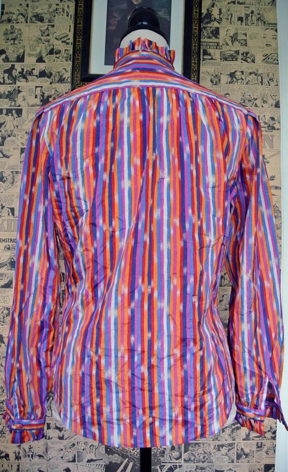Vintage 1970s Rainbow Stripe Blouse Womens Medium - image 4