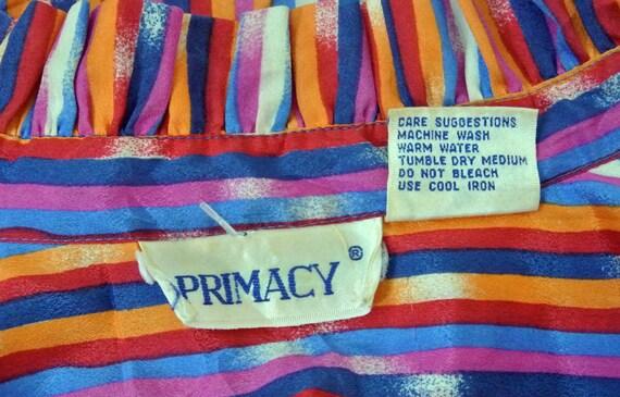 Vintage 1970s Rainbow Stripe Blouse Womens Medium - image 5