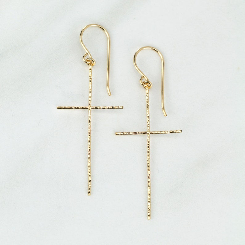 0826ae22d0b05 Cross Earrings, Gold Cross Earrings, Hammered Cross Earrings, Cross  Earring, Long Cross, Dangle Cross Earrings, Minimalist Jewelry, Handmade