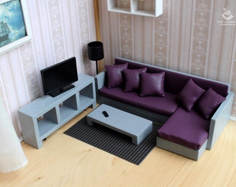 dollhouse furniture modern. Fine Dollhouse Miniature Living Room For Dolls And Doll Houses A Set Of Furniture Style  Modern Scale 112 Dollhouse DollsHandmade Doll Furniture For Dollhouse Furniture Modern