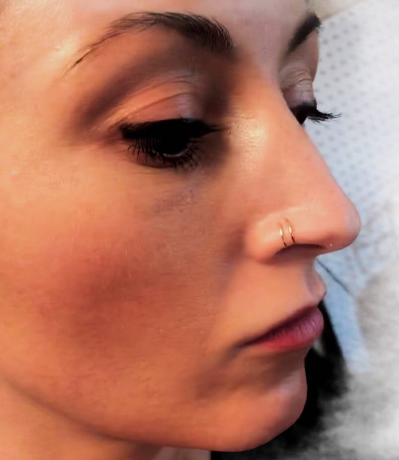 Double Nose Ring For A Single Pierced Nose Double Hoop Nose Ring Thin Nose Ring In Silver Gold Rose Gold