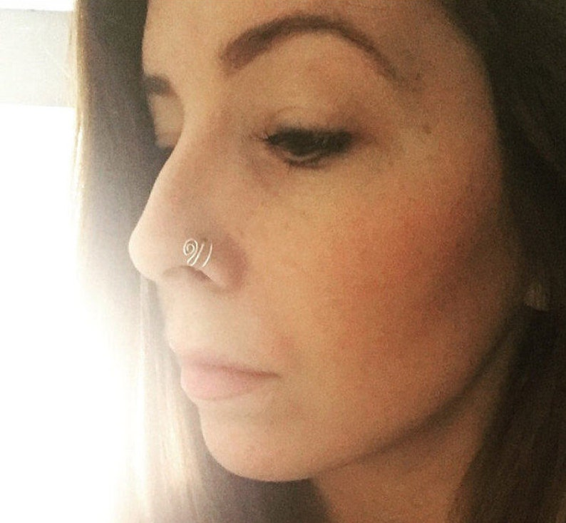 Paisley Double Hoop Nose Ring Thin Nose Ring Gold Nose Ring Rose Gold Nose Ring Silver Nose Ring Solid Gold Nose Ring Nose Hoop