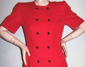 Vintage 1980's LIZ CLAIBORNE Red Dress Sz 4 Round Neck Short Sleeves 12-Buttons Double-Breasted Flared Skirt