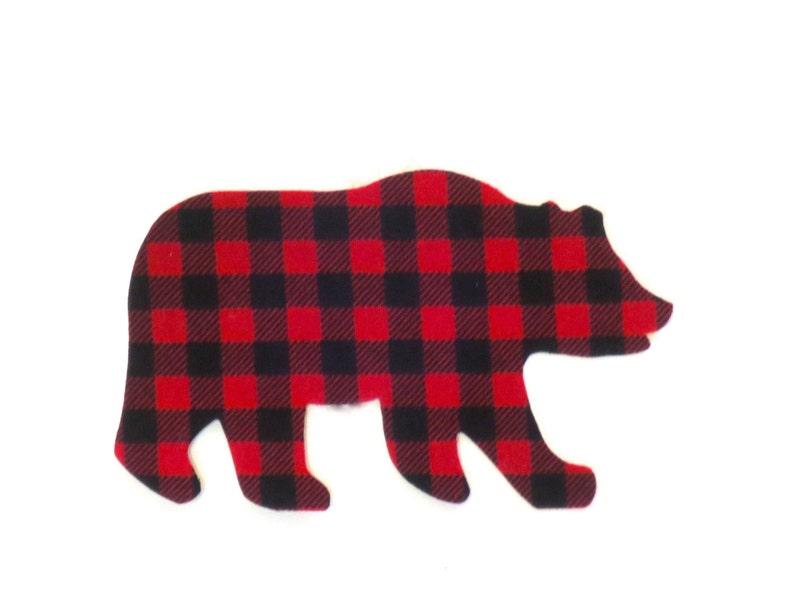 648eb9ec4 Bear Iron On Applique Buffalo Plaid Bear Iron Onto Gift Bags | Etsy