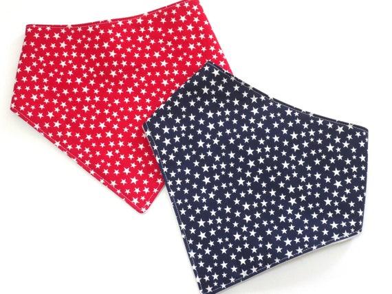 handmade Fun Baby Bandana Dribble Bib White stars on red