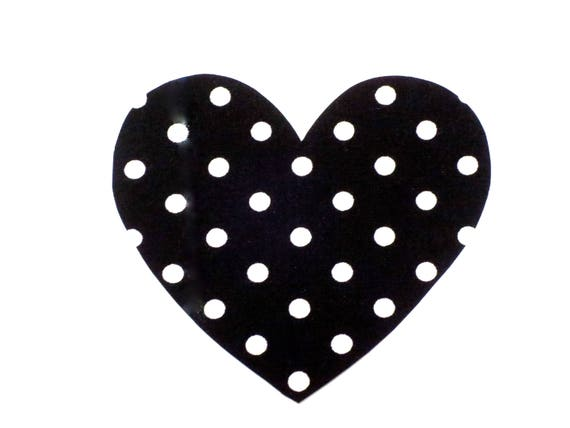 Heart Iron On Applique Patch Black White Polka Dot Iron