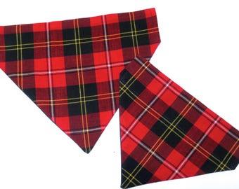 Plaid Dog Bandana Cat Bandana Pet Bandana Red Blue Plaid Dog Collar Pet No Tie Reversible Clothes 3 Sizes Winter Plaid Flannel Lumberjack