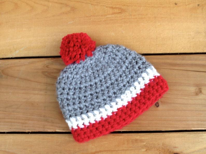 a3d10bd4b Lumberjack Newborn Hat Crochet Grey Red Ivory Beanie Hat Work