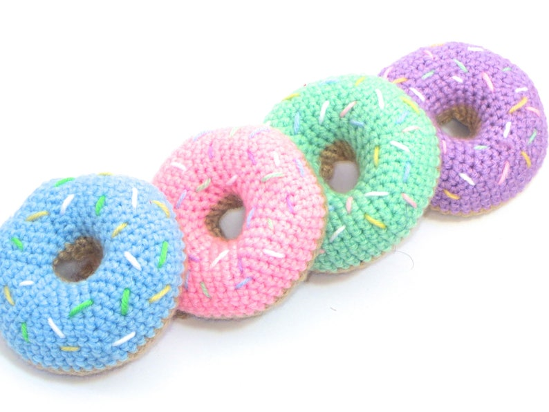 2ad1886a4b8 Donut Rattle Food Crochet Toy Baby Rattle Pretend Food Baby