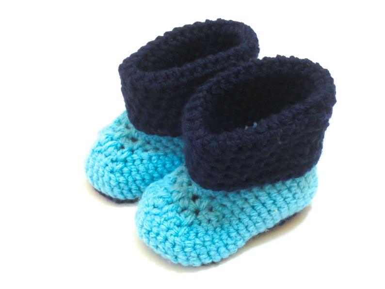83e4ab332621 Blue Baby Booties Crochet Navy Blue Aqua Baby Shower Blue Aqua