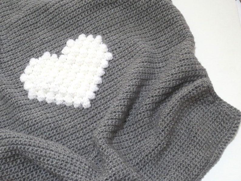 Crochet Pattern Blanket Heart Crochet Baby Blanket Crochet DIY Decoration  Farmhouse Home Decor Baby Nursery Crochet Bobble Heart Pattern