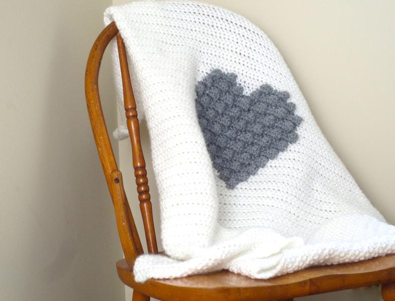 Crochet Pattern Heart Blanket Crochet Baby Blanket Crochet DIY Decoration  Farmhouse Home Decor Nursery Valentine Puff Bobble Heart Pattern