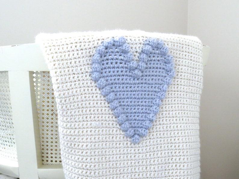 Crochet Pattern Heart Blanket Crochet Baby Blanket Crochet DIY Farmhouse  Home Decor Nursery Valentine Crochet Bobble Heart Pattern Baby