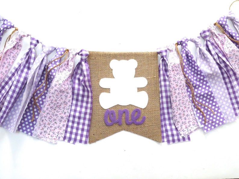 Teddy Bear Picnic Birthday Banner Highchair High Chair Purple Lavender Woodland Baby Bear Floral Gingham First One Party Decor Garland Prop