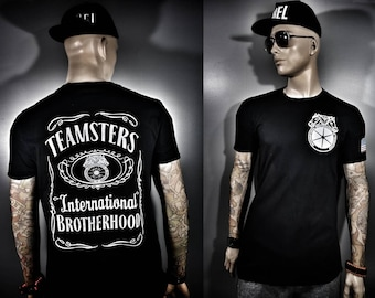 Teamsters Union T shirt Black all sizes Brotherhood with chest and sleeve prints JK