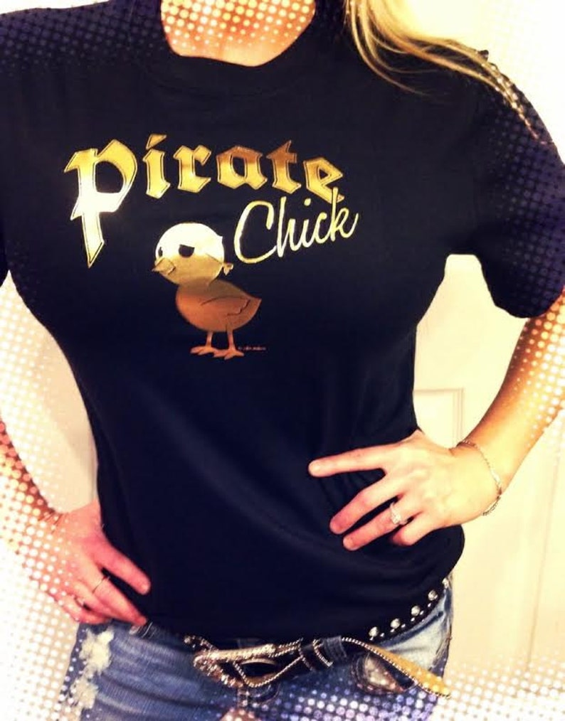 Pirate Chick Ladies T Shirt Black Gold Foil Print Chicky Etsy