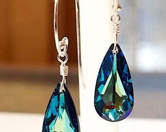 Long Blue Crystal Earrings - Swarovski Teardrop Earrings - Anniversary Gift for Wife - Christmas Gifts for Women