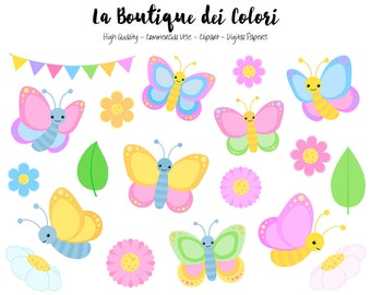Colorful Butterfly Clipart Cute Graphics Png Spring Bugs Etsy