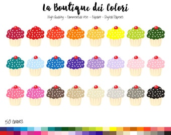 50 Rainbow Cupcake Clip art, Cute Digital Graphics PNG, Cake, sweets, treats, cooking baking Clipart, Planner Stickers Commercial Use